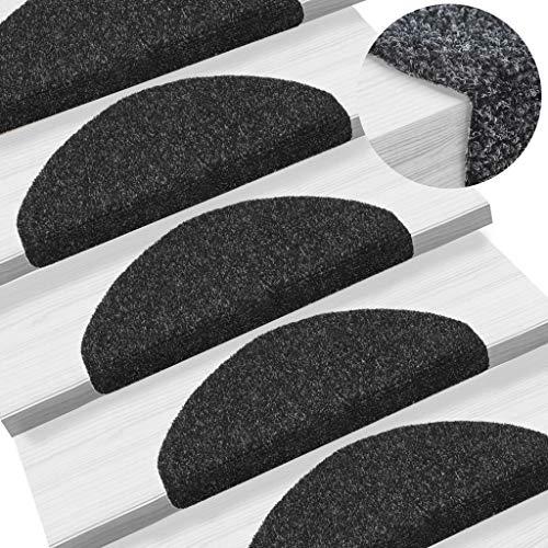mew-mew-cat 15 pcs Self-adhesive Stair Pads Set Stair Treads Non Slip Needle Punch Carpet 65x21x4 cm Black