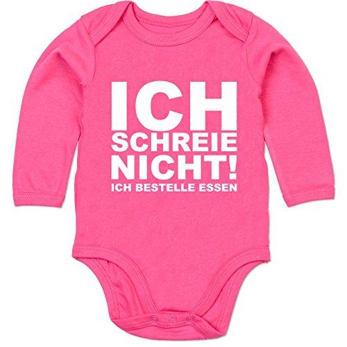 Shirtracer Sprüche Baby - Ich Schreie Nicht, ich bestelle Essen! - 3/6 Monate - Fuchsia - Baby Body lustige sprüche - BZ30 - Baby Body Langarm