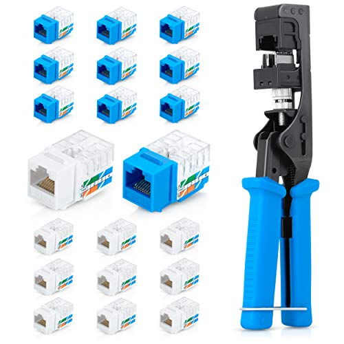 Everest Media Solutions Speed Termination Tool - Compatible with Same Brand RJ45 UTP Keystone Jacks - With 10 Blue & 10 White Cat6/5e Connectors