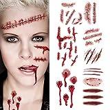 BLOUR 20 unid/Set Tatuajes de Cicatrices de Zombis de Halloween con Maquillaje Sangriento de costra Falsa decoración de Halloween Pegatina de Herida de Sangre aterradora