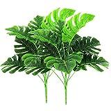 2 pièces plantes artificielles en plein air - Faux plastique verdure Tropical arbustes feuilles de palmier pour l'intérieur à l'extérieur de la maison maison jardin bureau mariage Party Decor