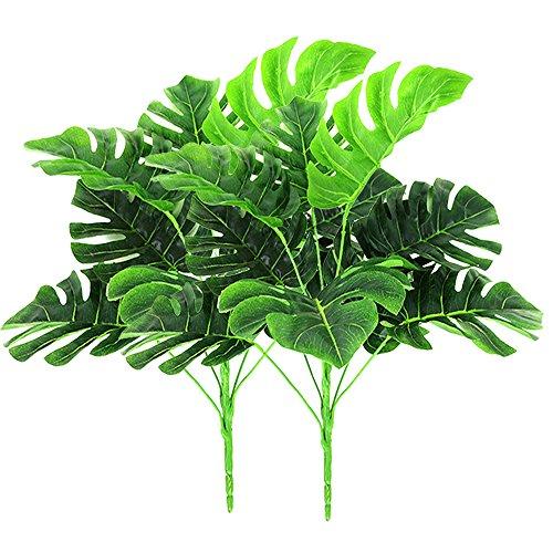 2 paquetes de plantas artificiales al aire libre - Fake Plastic Greenery Tropical arbustos hojas de palma para interior exterior Casa House Garden Office decoración de la fiesta de bodas