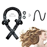 Heatless Hair Rollers, Hair Curlers for Long Hair, No Heat Curling Rod Headband with Hair Clips and Scrunchie, Curl Ribbon Rod Wave, Soft Silk DIY Hair Styling Tools Kit (Black)