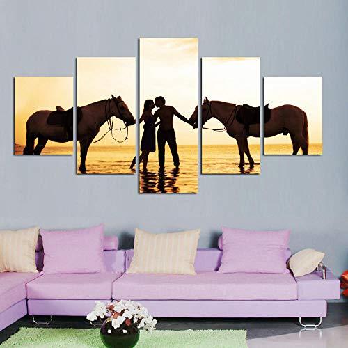 WARMBERL Cuadro en lienzo para decoración del hogar, 5 tablas, una pareja con caballo, diseño modular, impresión en alta definición sobre lienzo enmarcado