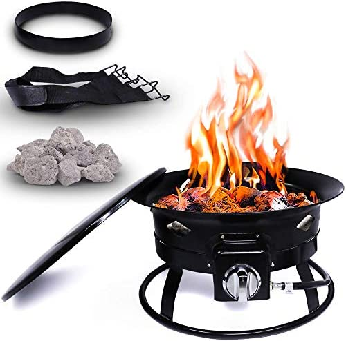 Project One Portable Outdoor Propane Fire Pit with Cover Carry Kit Lava Rocks 19 Inch Diameter product image