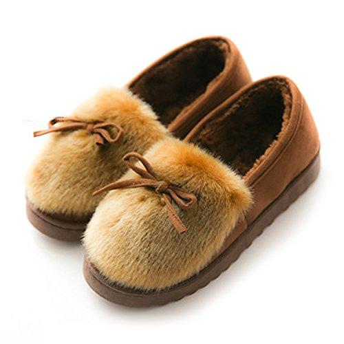 [KMAZN] ルームシューズ レディース もこもこ あったか ファー モカシ 防寒 可愛い 暖かい ローヒール スニーカー 室内履き 靴 秋冬靴 (23.5cm, コーヒー)