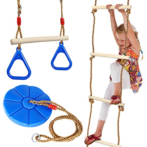 Furuix A Set 3tlg, 5-stufige Holzkletterleiter, Fitnessringschaukel, Strickleiter mit Scheibenschaukelsitz, geeignet für Kinder im Freien, Baum, Hinterhofspielplatz (blau)