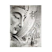キャンバスペインティング キャンバス上の抽象的な黒と白の宗教仏像の絵画スカンジナビアのポスターとプリントリビングルームの壁アート画像 50x75cm