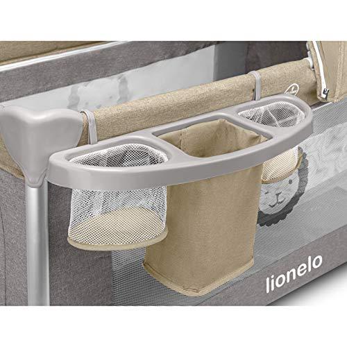Lionelo Simon 2in1 Reisebett Baby, Laufstall Baby ab Geburt bis 15kg, Spielkarussell mit Spielzeug, Moskitonetz, zusammenklappbar (Sand) - 9