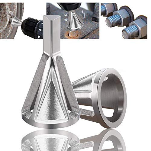 Deburring External Chamfering Tool, Chamfer Tool Deburring External Drill High Speed Stainless Steel Burr Removal Bit Quickly Repairs Damaged Metal External Chamfer Deburring Tool (Silver-2Pack)