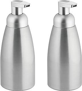mDesign Modern Metal Foaming Soap Dispenser Pump Bottle for Kitchen Sink Countertop, Bathroom Vanity, Utility/Laundry Roo...
