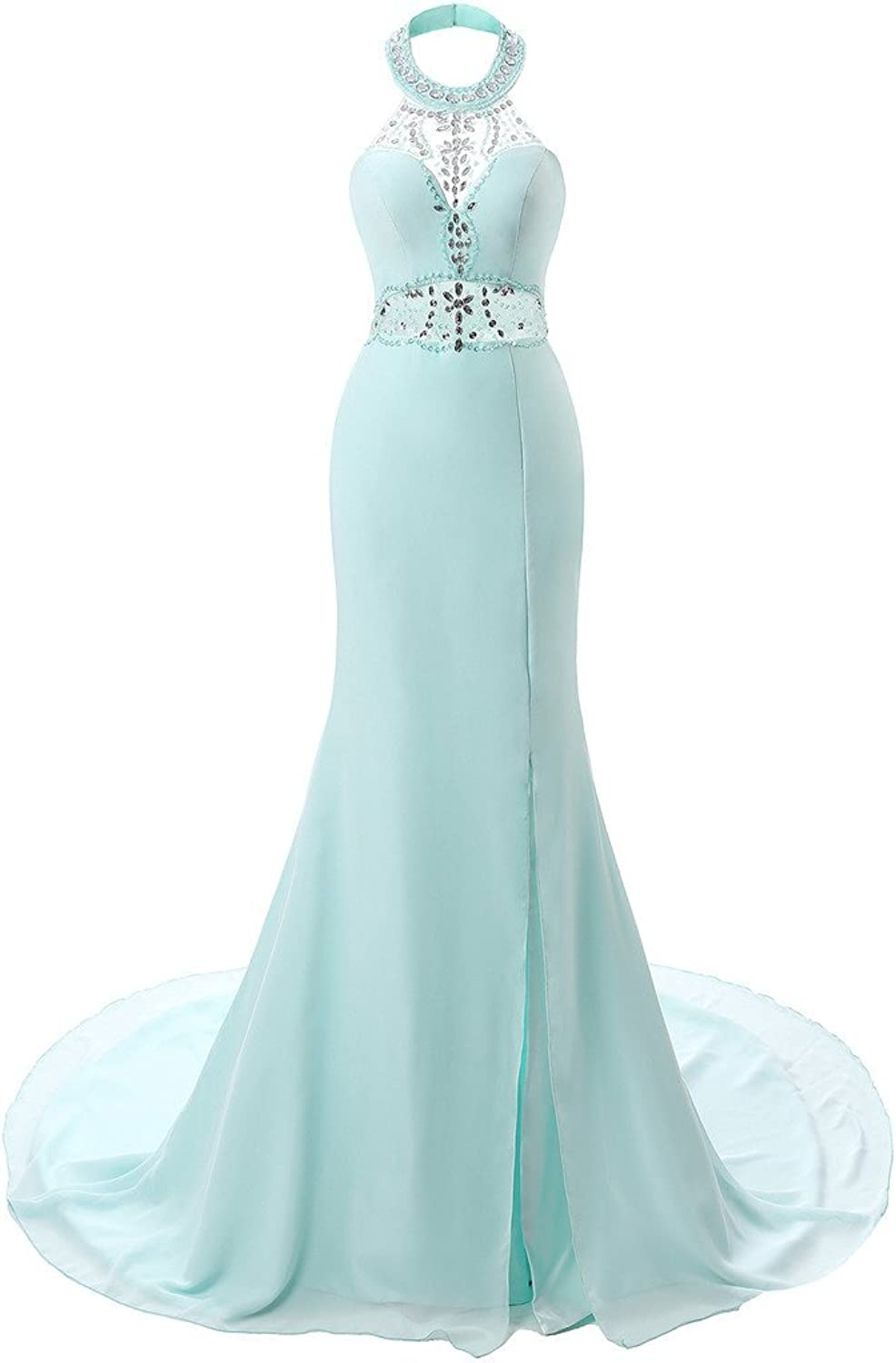 BessWedding Sexy Women Full Length Collar Sleeveless Beaded Aline Party Dresses
