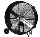 K Tool International 42' Belt Drive Drum Fan; Industrial, Garage, Shop, High Speed 2-Speed, Durable, Cut-Off Protection, Easy Mobility Rubber Wheels; BLACK KTI77742