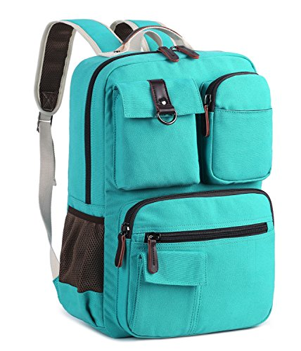 School Backpack Vintage Canvas Laptop Backpacks Men Women Rucksack Bookbags (Teal)