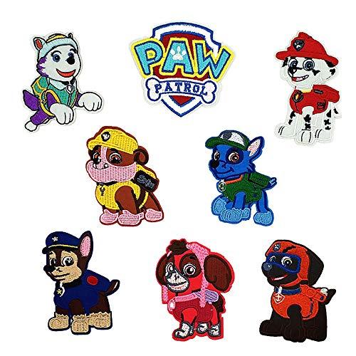 8 x bestickte Paw Patrol Aufnäher zum Aufnähen oder Aufbügeln, für Kleidung, Kleider, Pflanzen, Hüte, Jeans, Nähen, Blumen, DIY-Zubehör (8 Stück Hunde-Patrol)