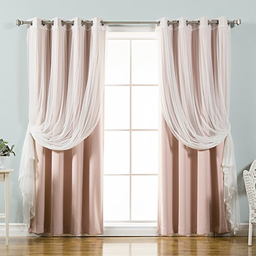 """Best Home Fashion uMIXm Mix and Match Tulle Sheer Lace and Blackout 4 Piece Curtain Set – Stainless Steel Nickel Grommet Top – Dustypink – 52"""" W x 96"""" L – (2 Curtains and 2 Sheer Curtains)"""