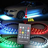 XINFOK 4PCS 8 Colors Car LED Neon under car lights Glow light 12V RGB Underglow Atmosphere underbody Decorative Bar Lights Kit Strip with Sound Active and Wireless Remote Control Car Interior