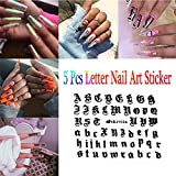 Watchwe Buchstabe 3d Nail Art Sticker Nail Decal schwarz klare Worte Charakter Nail Adhesive Sticker Decals Nail Decoration DIY