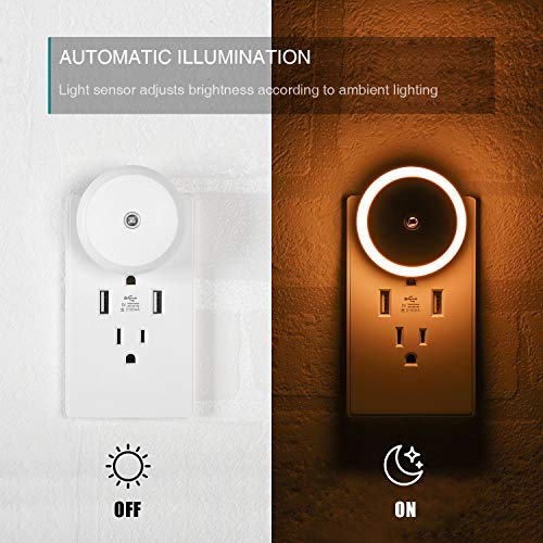 SerieCozy LED Night Light, with Dusk to Dawn Sensor, Diffused Light, Energy Efficient, Plug in Night Light for Bedroom, Bathroom, Kitchen, Hallway, Stairs, Kids Room, Warm White, 2 Pack