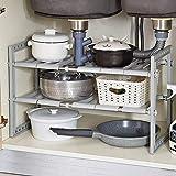 2 Niveles Estantería de Almacenaje Debajo Fregadero, Estantería de Cocina de Acero Inoxidable, Extensible Multifunción Ajustable, para Cocina y Mueble de Baño, Gris, (37.5-68) x26x37.5