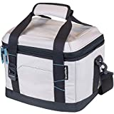CleverMade Collapsible Soft Cooler Bag Tote - Insulated 18 Can Leakproof Small Cooler Box with Bottle Opener and Shoulder Strap for Lunch, Beach, and Picnic - Cream