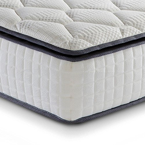 Memory Foam Pillow Top, Happy Beds SleepSoul Bliss 800 Pocket Spring Medium Tension Mattress with Classic Fillings - 6ft Super King Size (180 x 200 cm)