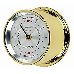 Maximum Inc. Harbormaster Atlantic Coast Tide Clock – Brass Case, Silver Dial