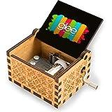 Glee TV Series Rainbow Style Vintage Manivela de madera caja de música regalo para cumpleaños, Navidad, día de San Valentín