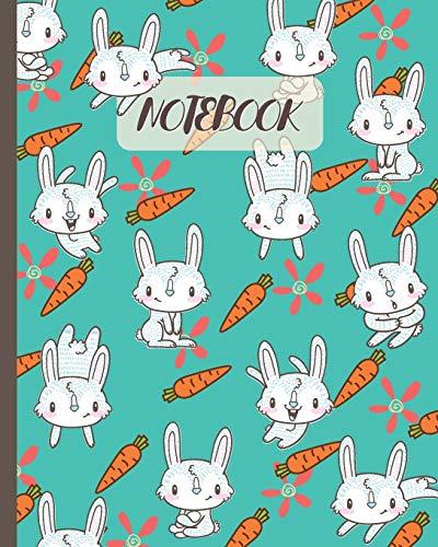 Notebook: Cute Rabbits & Carrots Cartoon - Lined Notebook, Diary, Track, Log & Journal - Gift Idea for Boys Girls Teens Men Women (8