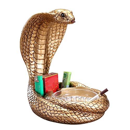 LAHappy Cenicero de Resina Cenicero en Forma de Cobra Cenicero de Mesa para Uso en Exteriores e Interiores, Creativa Artesanía Decoración,C