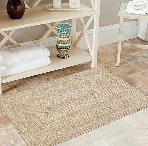 Jute Braid Natural Rug 2X3' -Natural Linen Color, Hand Woven & Reversible for Living Room Kitchen Entryway Rug,Jute Burlap Braided Rag Rug 24x36 inch,Farmhouse Rag Rug, Rustic Rug,Natural Look Rug