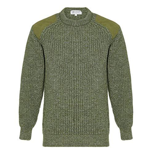 Lona Scott EIN Herrenjagdpullover, 100% Wolle, Large Knit, Green L