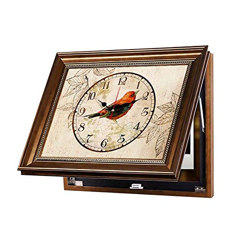 WANGXINQUAN Dekorative Wanddekoration für Wohnzimmer, nordischer amerikanischer Stil, Abschirmung, Wandbild, mit Rahmen, Wandgemälde plus Uhr, Größe: 60 x 40 cm
