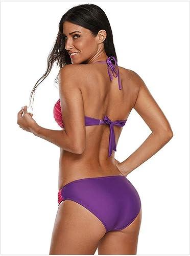 Maillot de Bain Femme Bikini Europe et états-Unis Maillot de Bain Sexy Triangle Taille Basse Sling Sexy (Couleur  Violet, Taille  M)