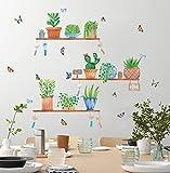 TOARTI 37 Stück Grüne Pflanzen Wandsticker,Aquarell Wandtattoo für Wohnzimmer,Grüne Blatt Blumen Wandtattoo für Küche,DIY Topfpflanze Schmetterling Wandaufkleber für Schlafzimmer...