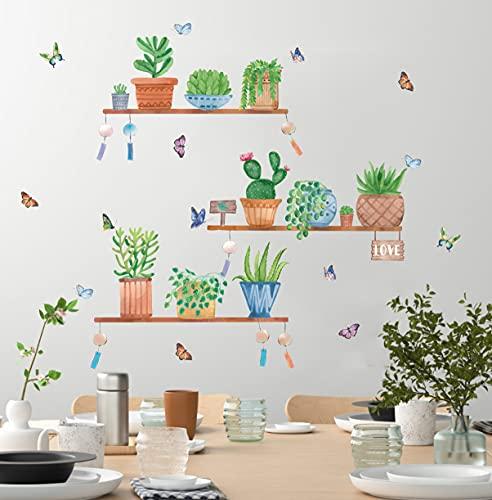 TOARTI 37 Pezzi Verde Pianta Adesivi Murali,Adesivi Murale Foglie per Cucina,Farfalla Adesivo da Parete,Stickers Muro Piante Tropicali,Pianta in Vaso Adesivo Murale per Soggiorno Decorazioni