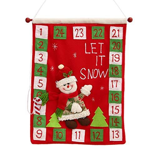 NUOBESTY Calendario de Cuenta Regresiva Navidad muñeco de Nieve patrón decoración de la Puerta de Navidad Colgante Calendario Ornamento