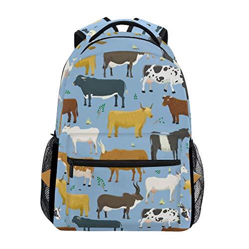 Bulls Cows Farm Animal Cattle Mammal Backpack Waterproof School Shoulder Bag Gym Backpack Nature Beef Agriculture Rural Bovine Laptop Bag Outdoor Travel Bag For Kids Boys Girls Women Men