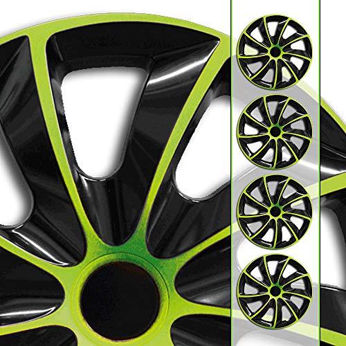 Eight Tec Handelsagentur (Farbe & Größe wählbar) Bundle 15 Zoll Radkappen, Radzierblenden Quad Bicolor (Schwarz/Grün) passend für Fast alle Fahrzeugtypen (universal)