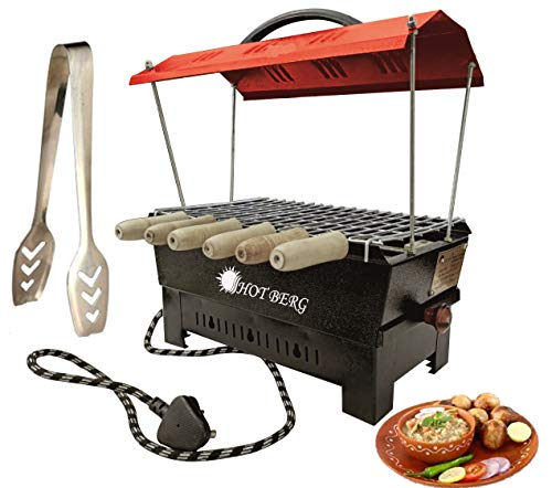 Hot berg 2-in-1 Electric & Non Electric/Compact Electric Barbecue Grill Red Hut Shape and Tandoor with Frying and Roasting Barbeque Grill