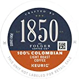 1850 by Folgers Coffee 100% Colombian Light Roast Coffee, 10 K Cups for Keurig Coffee Makers