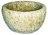 DEGARDEN Jardinera Redonda Rústica Rural Exterior Fabricada en hormigón-Piedra | Macetero Bebedero Decorativo Pila de Piedra Artificial Exterior Jardín 47X26cm. Ocre