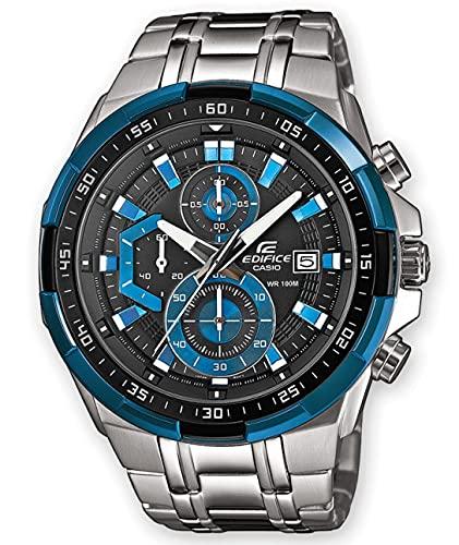Casio EDIFICE Reloj en caja sólida, 10 BAR, Azul/Negro, para Hombre, con Correa de Acero inoxidable, EFR-539D-1A2VUEF