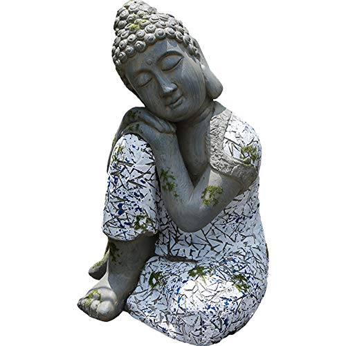 MOCOHANA Thai Buddha Statue Figurine for Garden Patio Meditating Sitting Buddha Concrete Asian Statue Chinese Outdoor Buddha Statuary Cast Stone Figurine Buddhist Gift for Men Women