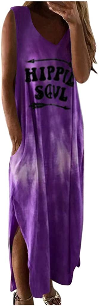 GCETTIC Dresses for Women Casual Summer Tie Dye Letter Printed Long Maxi Dress Sleeveless Party Tank Long Dress