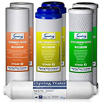 iSpring F7-GAC for Standard 5-Stage Reverse Osmosis RO Systems 1-Year Replacement Supply Filter Cartridge Pack Set