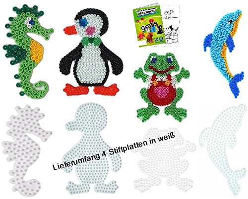 HAMA Stiftplatten-Set midi Meerestiere Wassertiere Seepferdchen + Delphin + Frosch + Pinguin + Malheft