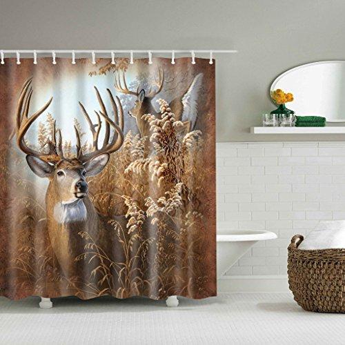 Cortina de Ducha de baño de Tela de Ciervo Joocyee, Cortina de Ducha de impresión Digital para decoración del hogar de Cabina de Caza de baño rústico, como se Muestra
