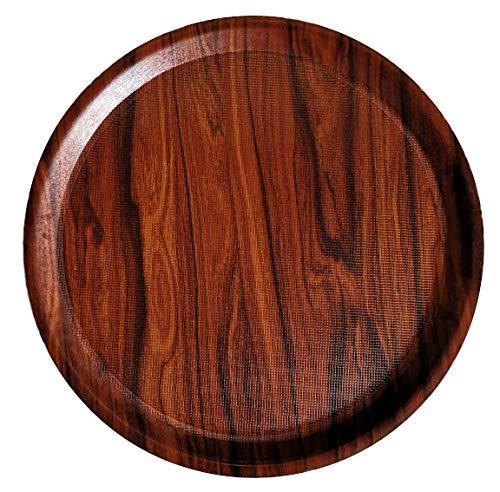 Staab's Gastro Tablett rechteckig Mahagoni braun/Laminat mit antirutsch Oberfläche, Kellnertablett, Serviertablett, Bierglasträger, Gläsertablett (∅ rund 42 cm)