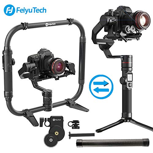 FeiyuTech AK4000 3-Axis Gimbal Stabilizer Payload 4 KG for Mirrorless & DSLR Camera Sony Canon Panasonic Nikon Smart Touch Panel Free Follow Focus Carbon Fiber Extension Bar and Dual Handle